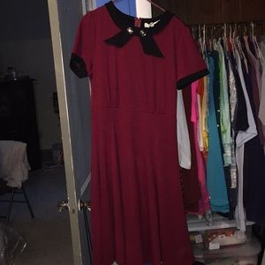 Maroon dress with black trim